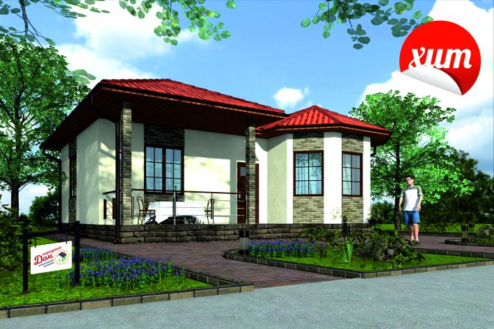 Одноэтажный дом с террасой. НД.056-7