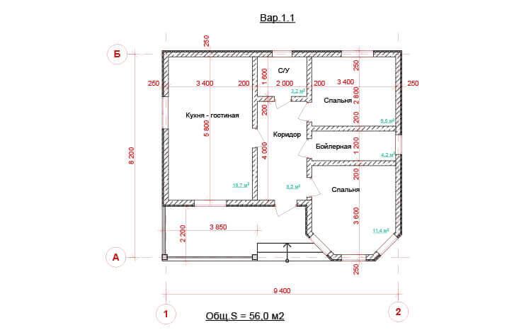 Одноэтажный дом с террасой. НД.056-1