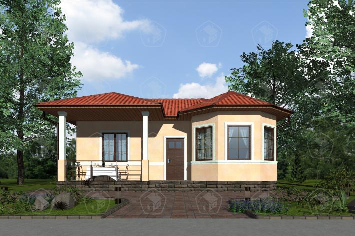 Одноэтажный дом с террасой. НД.056-2