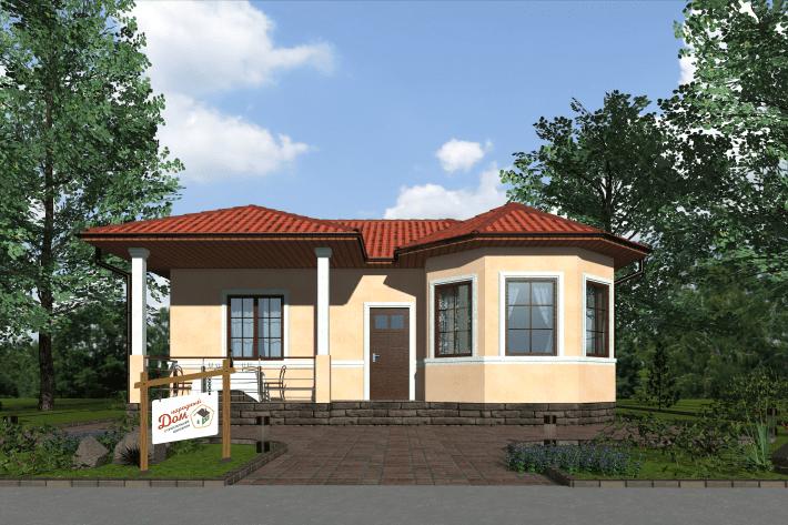 Одноэтажный дом с террасой. НД.056-6