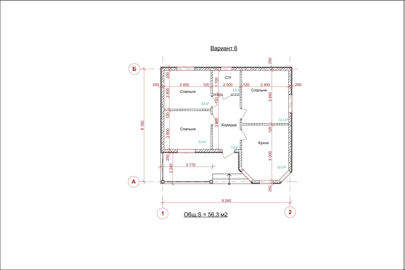 Одноэтажный дом с террасой. НД.056-8