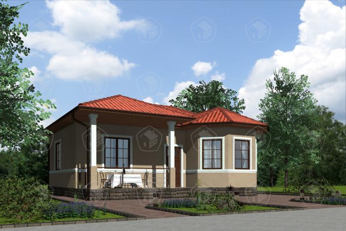 Одноэтажный дом с террасой. НД.056-9