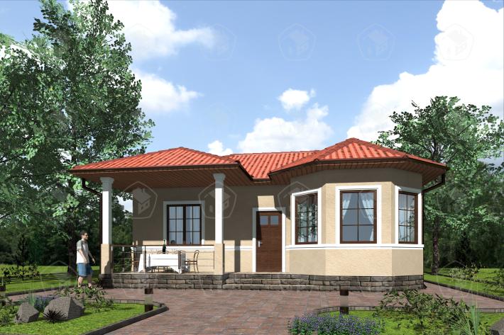 Одноэтажный дом с террасой. НД.056-3