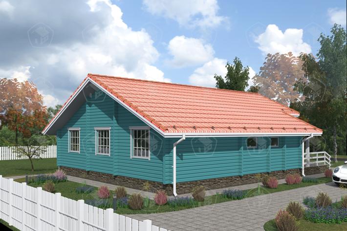 Дом из бруса с мансардой и террасой. НД.080-2