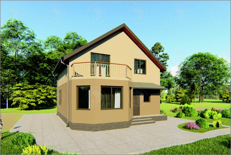 Двухэтажный дом с эркером. НД.130
