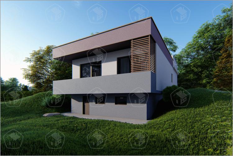 Одноэтажный дом с цоколем и балконом. НД.087