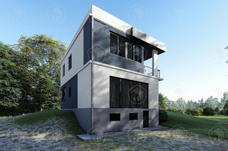 Двухэтажный дом с балконом и цокольным этажом. НД.140