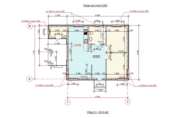 """Одноэтажный дом """"Орхидея 1"""""""