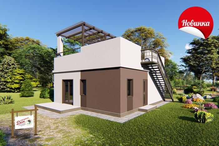 Одноэтажный дом с солнечной функциональной крышей