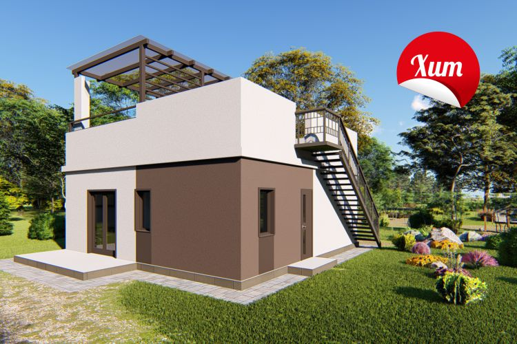 """Одноэтажный дом с солнечной функциональной крышей """"Ирис 1"""""""