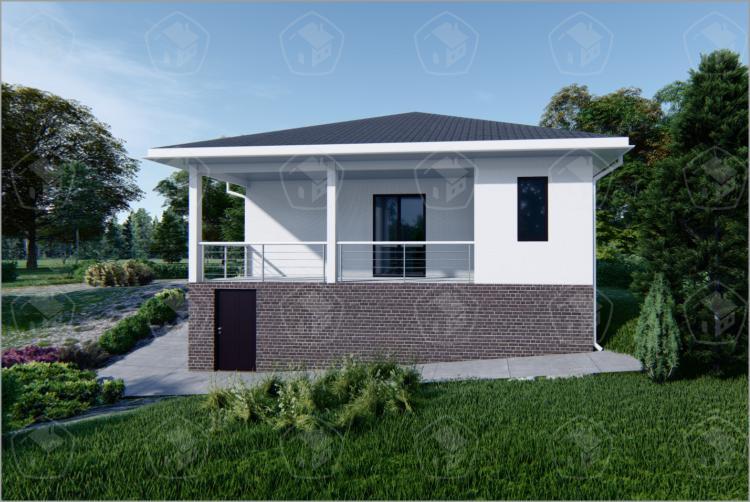 """Одноэтажный дом с террасой и подвалом """"Жасмин"""""""